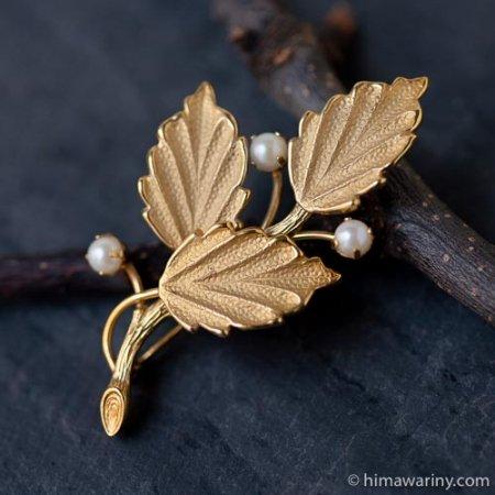 C.R.Co.-K12金-真珠の実小枝ヴィンテージ・ブローチの画像