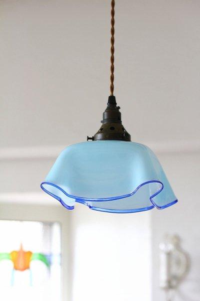 アンティークミルクガラスランプシェードブルーの画像