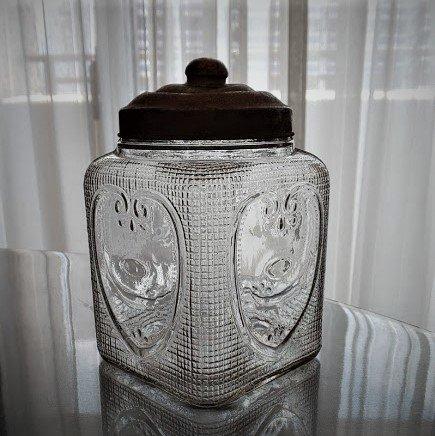 あめや(飴屋)瓶 角型 ハート<br>アラベスク文の画像