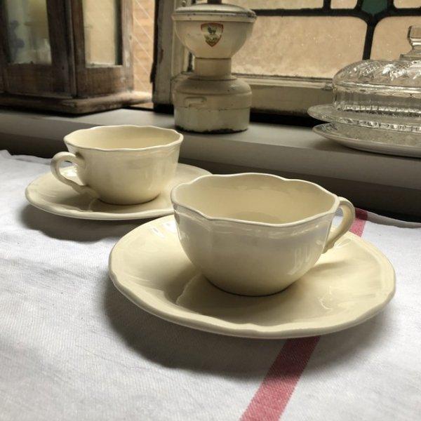 2客セット サルグミンヌ 花リム カップ&ソーサー アイボリーの画像