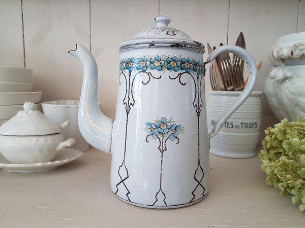 アンティ—ク花柄コーヒーポットの画像