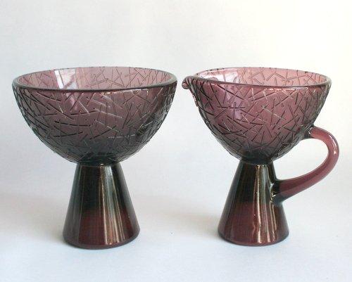 スウェーデンElme glass製シュガーボウル&ミルクジャグの画像