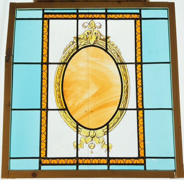 鏡デザインのアンティークステンドグラスの画像