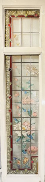 花と蝶々のアンティークステンドグラス�の画像