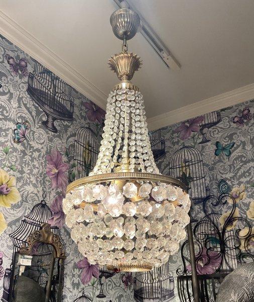 アンティーク シャンデリア照明 クリスタルゴールドの画像