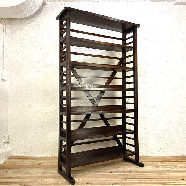 大正ロマン日本製アンティーク大本棚・書棚・シェルフの画像