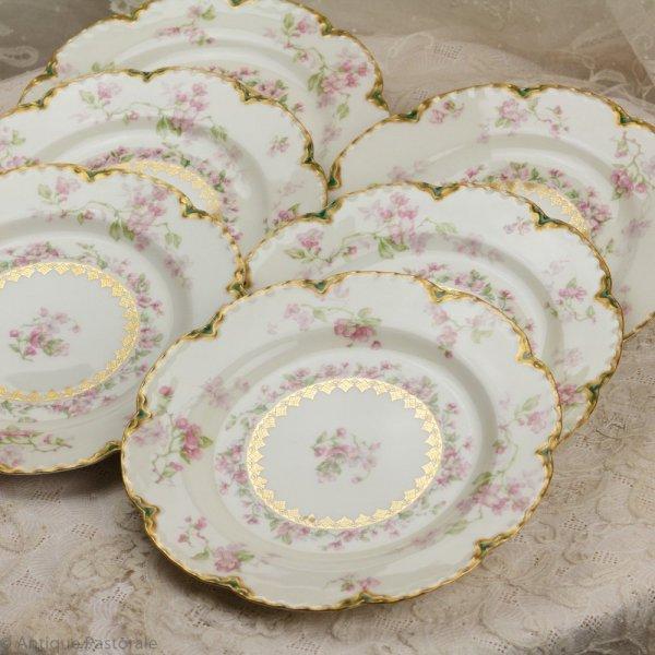 アビランド リモージュ りんごの花のランチプレート 6枚セット(エクセレント4枚+難あり2枚)の画像