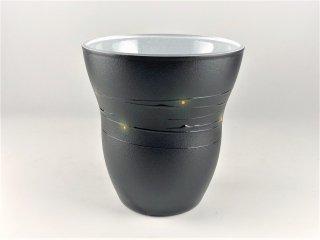 漆のグラス らせんシリーズ グラス(中)黒/内側:白ラメ