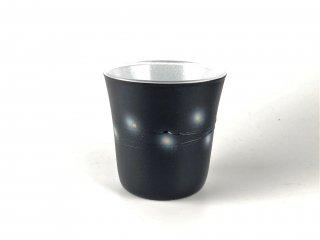 漆のグラス らせんシリーズ ぐいのみ 黒/内側:白ラメ