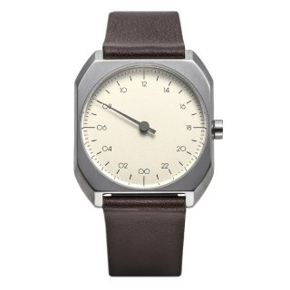 SLOW WATCH SLOW MO 08 Dark Brown Leather, Silver Case, Silver Dial