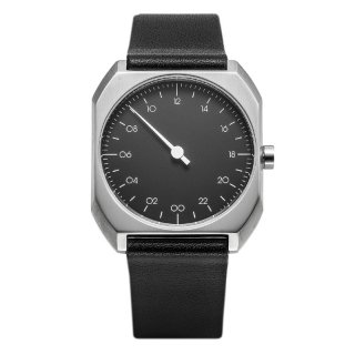 SLOW WATCH SLOW MO 06 Black Leather, Silver Case, Black Dial