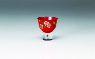 朱 ぐい呑み 山桜(手描きガラス絵)