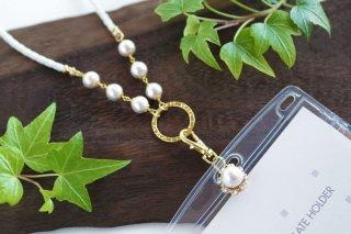 【pearls & crystals】パール&クリスタル・ネームカードホルダー兼グラスホルダー[コットンパール/スワロフスキークリスタル]