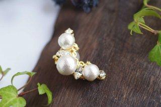 【pearls & crystals】パール&クリスタル・イヤーカフ(ゴールド)[コットンパール/スワロフスキークリスタル]