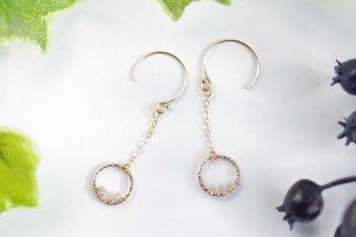 K14GF【diamond hoop】ダイヤモンドフープ・ピアス/イヤリング/ノンホールピアス(2)[ダイヤモンド]