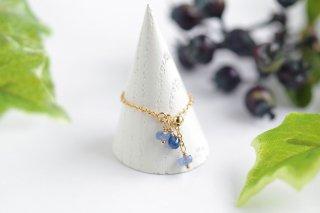 K14GF【sapphire drops】サファイアドロップス・チェーンリング(1)[ブルーサファイア]