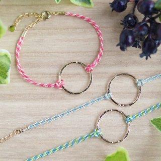 選べる3色【hoop フープ】シルクコード・ブレスレット/アンクレット