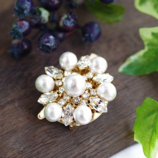 【pearls & crystals】パール&クリスタル・ブローチ兼ヘアクリップ[コットンパール/スワロフスキークリスタル]