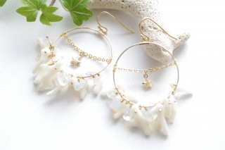 【sandy beach】砂浜・ピアス/イヤリング(2)[白サンゴ]