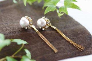 【pearls & crystals】パール&クリスタル・2WAYピアス[コットンパール/スワロフスキークリスタル]