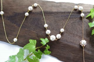 【pearls & crystals】パール&クリスタル・ロングネックレス[コットンパール/スワロフスキークリスタル]