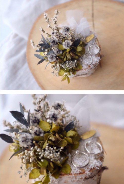 白樺リングピロー(紫陽花)写真