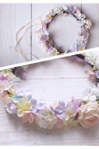 矢車草とアジサイの花冠