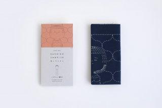 刺し子ふきん模様刺し(イラスト+伝統柄・紺)