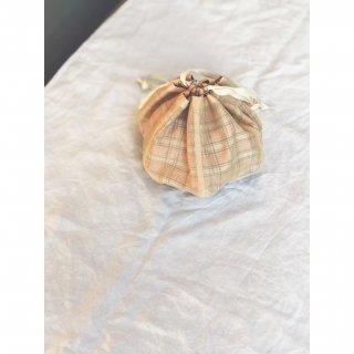 checkered antique fabric×organdy petal seam bag