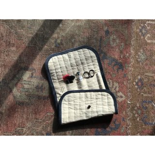quilting antique linen sewing pouch