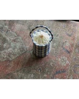 quilt antique linen bucket  bag 内袋付き�