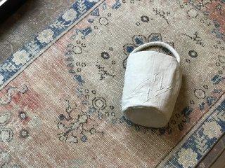 quilt antique linen bucket  bag  monogram