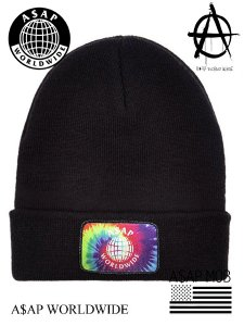 A$AP World Wide Tie Dye Patch Fold Beanie