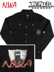 "RUTHLESS RECORDS, N.W.A. ""Spray Paint Logo"" Official Denim Jacket"