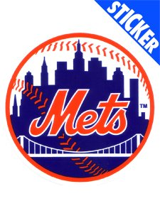 NEW YORK METS 3X4 INCH ROUND MINI STATIC CLING