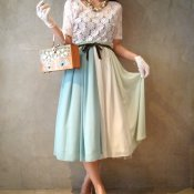 Three colors Chiffon Skirt / Pale Green (シフォンスカート)