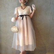Layerd Dress / Ivory×Silver