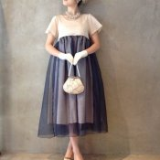 Layerd Dress / Ivory×Navy
