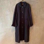 VINCENT JALBERT Coat Lace Collar -Vintage Linen-  (ヴィンセント ジャルベール レースカラーコート ) Charcoal