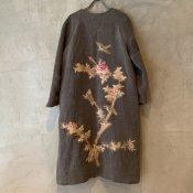 VINCENT JALBERT Long Coat - Embroideris - (ヴィンセント ジャルベール 刺繍ロングコート ) Charcoal