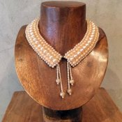 1950's Pearl Beads Collar w/Tassels(1950年代 5連パールビーズ つけ襟 タッセル付)
