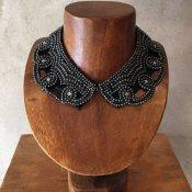 1950's Black Pearl×Glass Beads Collar(1950年代 ブラックパール×ガラスビーズ つけ襟)