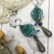 60's Irena Leaf Earrings Green (60年代 イリーナ リーフ イヤリング グリーン)