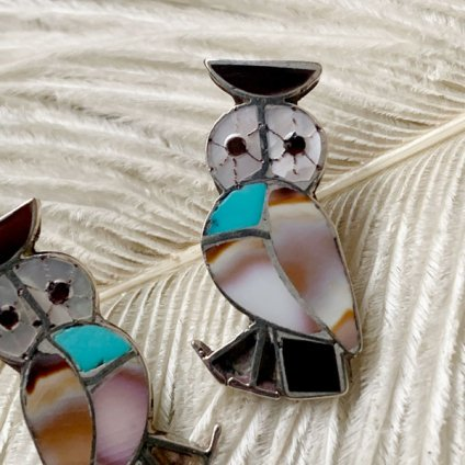 Inlay Owl Silver Pierced Earrings(インレイフクロウ シルバーピアス)