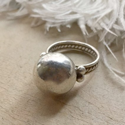 Mexican Silver Beads Face Ring(メキシカン シルバービーズフェイスリング)