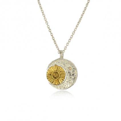 momocreatura Crescent Moon&Sun Necklace(モモクリアチュラ 三日月&廻る太陽ネックレス シルバー×ゴールド)40cm+10cm