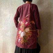 VINCENT JALBERT  Coat - Embroideris - (ヴィンセント ジャルベール 刺繍コート ) Dark Red