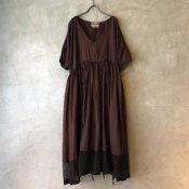 VINCENT JALBERT Parachute Dress L/S w/Belt(ヴィンセント ジャルベール パラシュートドレス ベルト付) Dark Red