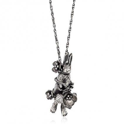 momocreatura Flower Rabbit Necklace Silver(モモクリアチュラ フラワー 花 うさぎ ネックレス )45cm+15cm