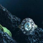 Victorian 18K/Aquamarine/Diamond Antique Ring(ヴィクトリアン 18K アクアマリン/ダイヤモンド アンティークリング)